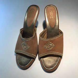 Carlos Santana Leather Suede Boho Slip On Heel 8